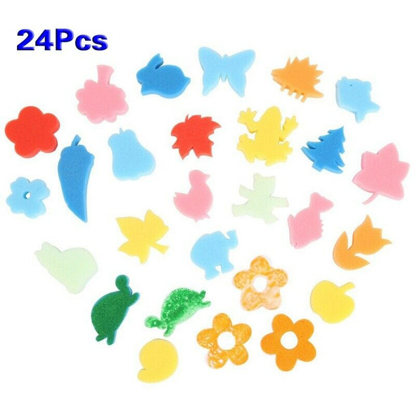 24pcs Colorful Different Shapes Kids Children Crafting Painting Sponge DIY  T2S8