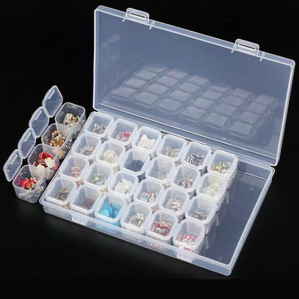 28 Compartment Plastic Jewelry Craft Storage Box Case Beads Container Organizer