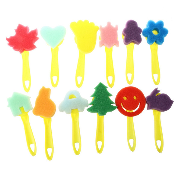 12 pcs colorful different shapes Children Painting Craft sponge stamp M2V4