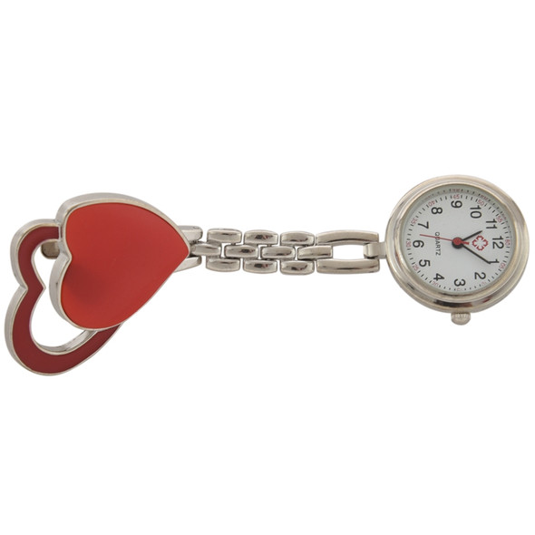 Nurse Watch Quartz Watch, Women, Clip Double Heart (orange), Pocket Watch W H2B7