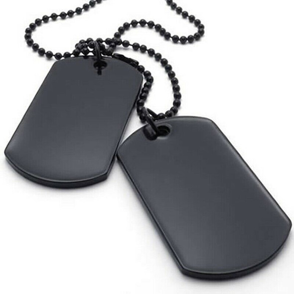 Jewelry Mens Women's Necklace, 2 Tag Style Dog Tag 68 cm Pendant with Chain Q5O7