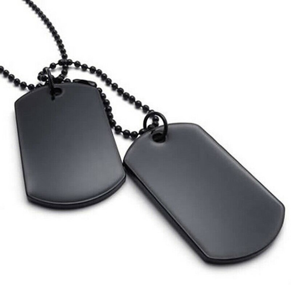 Jewelry Mens Women's Necklace, 2 Tag Style Dog Tag 68 cm Pendant with Chain K3O1