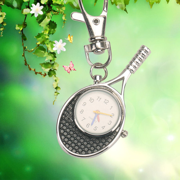 Men Women's Fashion Metal Key Ring Keychain Pendant Pocket Quartz Watch