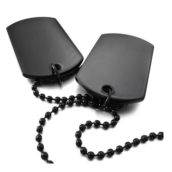2 PCS Alloy Pendant Necklace Pendant Black Double Dog Tag plate Army Tribal I7Y9