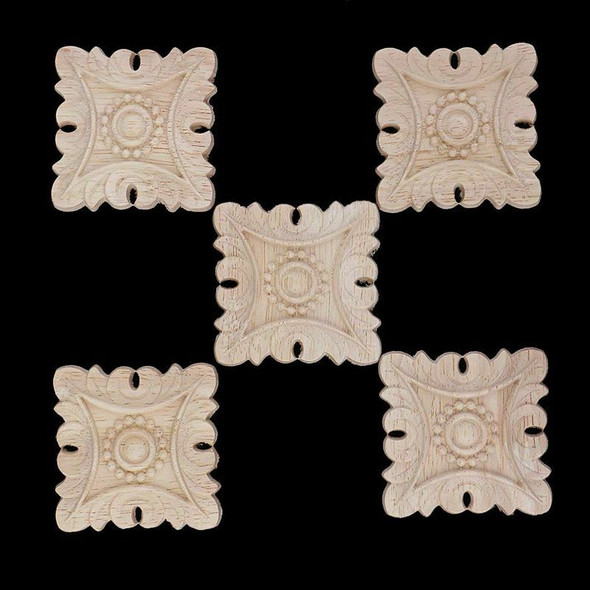 5 pcs Square carved wood European Style Sculpture wall lamp House Decoratio Q9I9