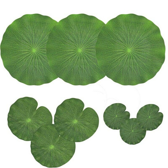 Pack Of 9 Artificial Floating Foam Lotus Leaves Water Lily Pads Ornaments G M3E4