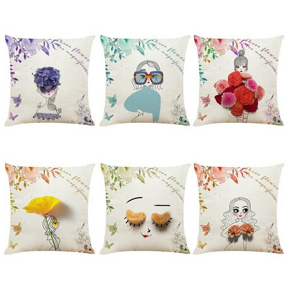 Nordic Style Flower Girls Cushion Covers Kids Decoration Pillow Case Home B W9U6