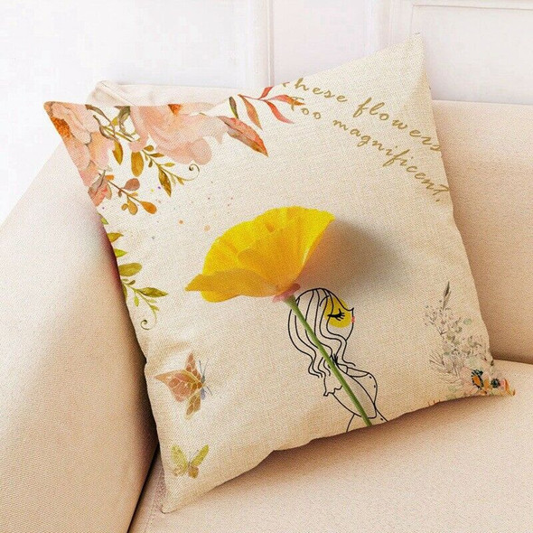 Nordic Style Flower Girls Cushion Covers Kids Decoration Pillow Case Home B K5N8