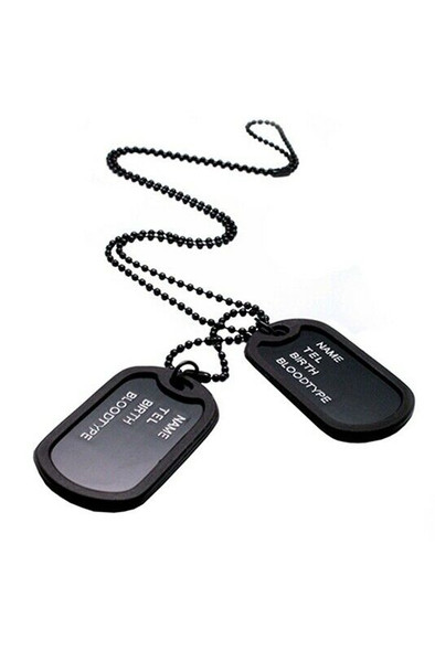 Army Style Black 2 Dog Tags Chain Mens Pendant Necklace C8O1