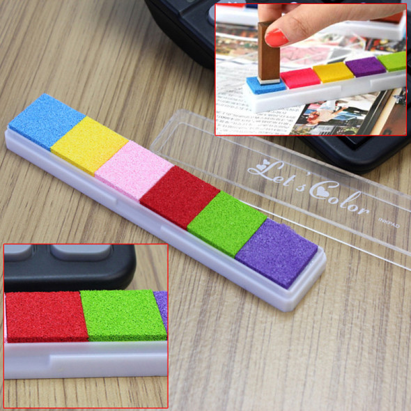 6 Color Ink Pad Inkpad For Kid Children Stamps Paper Wood Card-making Craft dgg