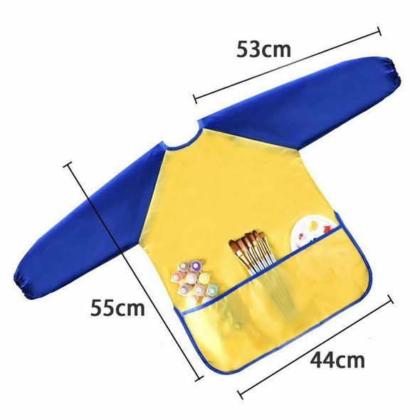 Childrens Kids Toddler Waterproof Play Apron Art Smock with 3 Roomy Pockets G8U6