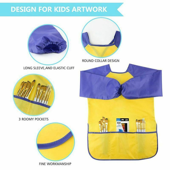 Childrens Kids Toddler Waterproof Play Apron Art Smock with 3 Roomy Pockets X4G8