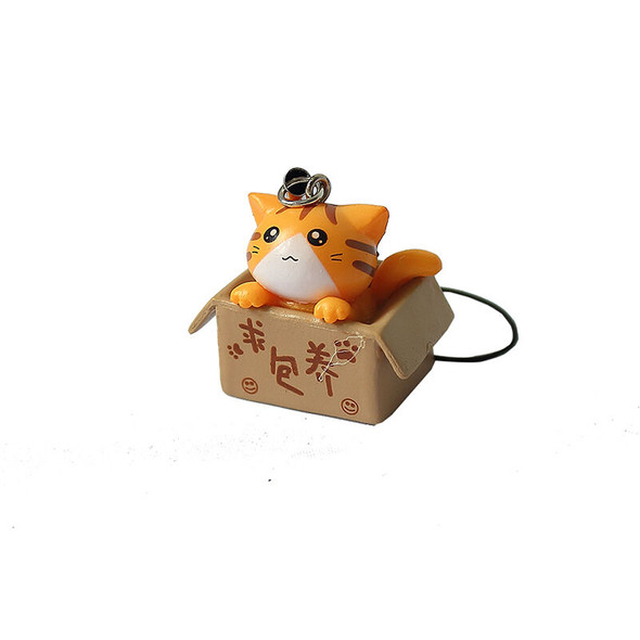 Lovely Cartoon Cat In The Box Cell Phone Charm at Random free ship%% TOCA
