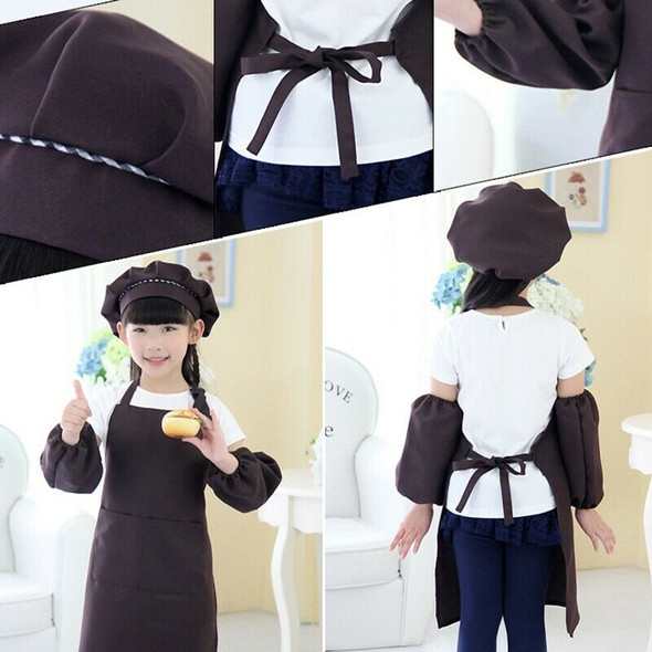 Kids Full Apron Bib Set with Pocket and Hat Sleeves Craft Kitchen Chef Cook M3Y3