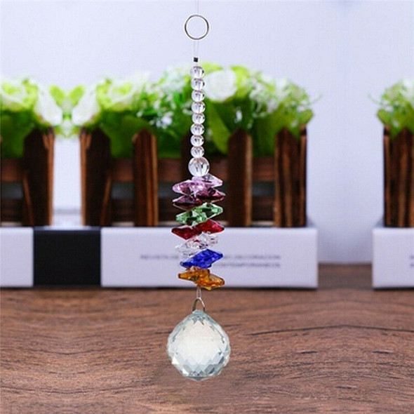 Hanging Glass Crystal Ball Prism Pendant Ornament Rainbow Wedding Gift  JR