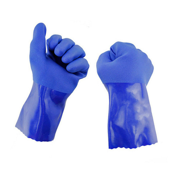 2 x Best Chemical Resistant Gloves Protective Blue Rubber Textured Finish Nice