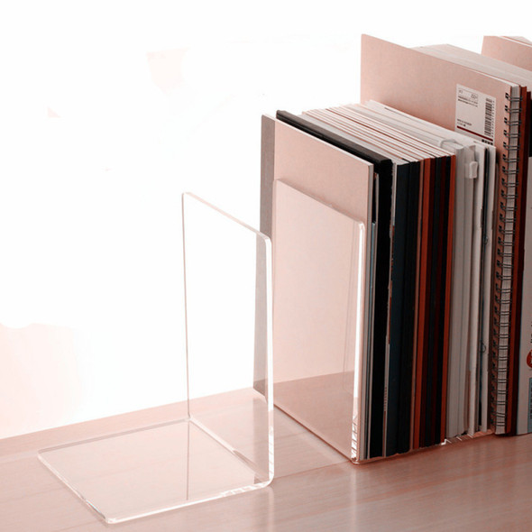 Book Shelf Bookend Transparent Desk Tidy Office Study Plastic Clear Acry TZN