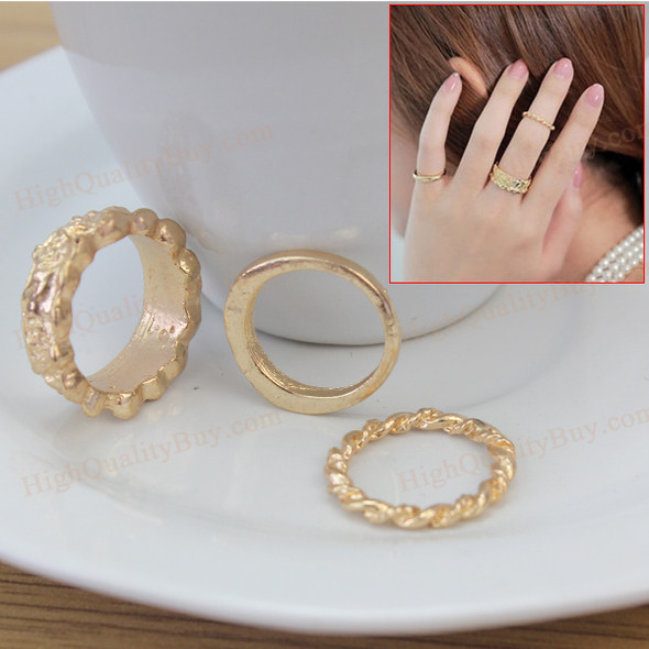 3pcs Crystal Twist Wave Flower Wedding Ring Midi Knuckle Rings for Fingers Toes