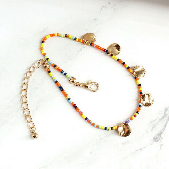Boho Multi-color Beads Circular Pendant Foot Chain Anklet Women Jewelry Gi BX