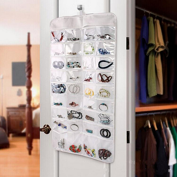 Newest Easy Access 72 Pocket-Hanging Jewelry Closet or Door Organizer  YLY