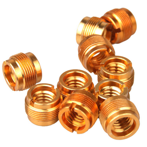 """5Pcs/Set Microphone Mic Screw Clip Thread Adaptor 3/8"""" To 5/8""""Connector Golde TO"""