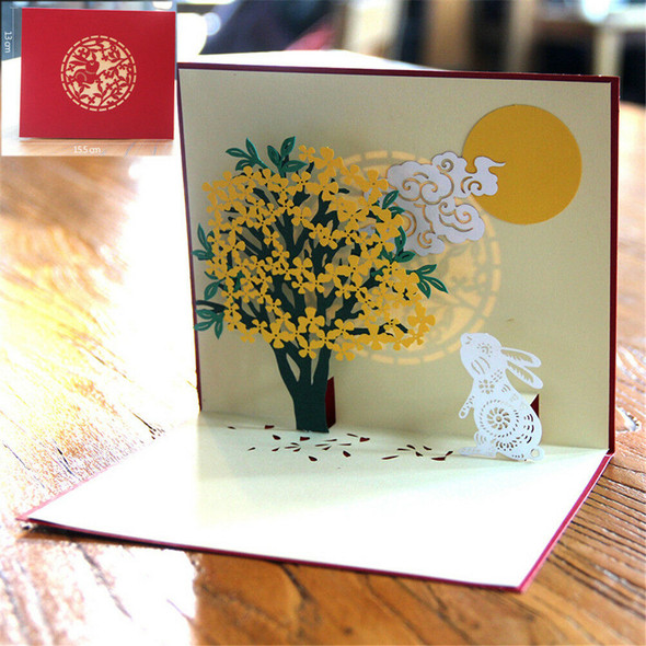 Laurus flower Card Chinese Mid-Autumn Day Greeting Card Up CardJBTOCA
