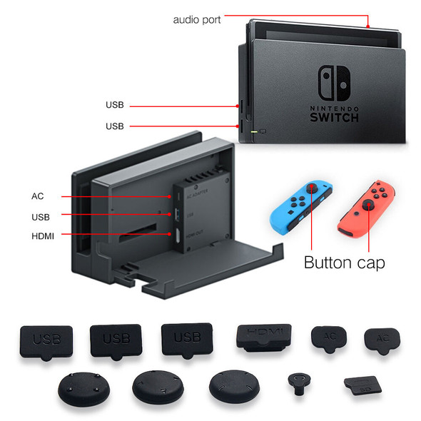 Switch Tempered Glass Screen Film Cover Anti Dust Plugs Set for Console