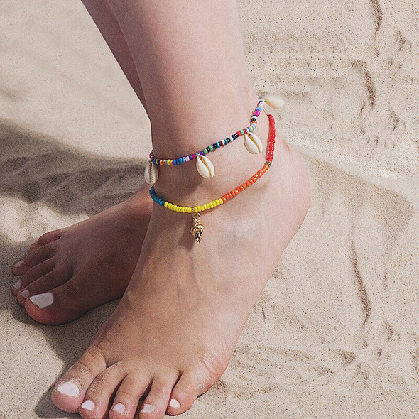 Boho Shell Foot Chain Handmade DIY Weave Colortful Anklet Bracelet Women Jewe BX