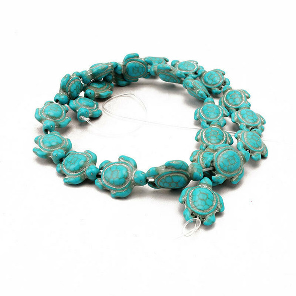 Women One Strand Howlite Turquoise Carved Turtle Shaped Spacer Beads DIY SZV