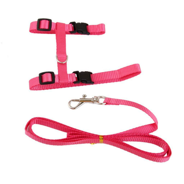 Adjustable Pet Cat Belt Nylon Leash Collar Harness Strap Rope with lead Pink