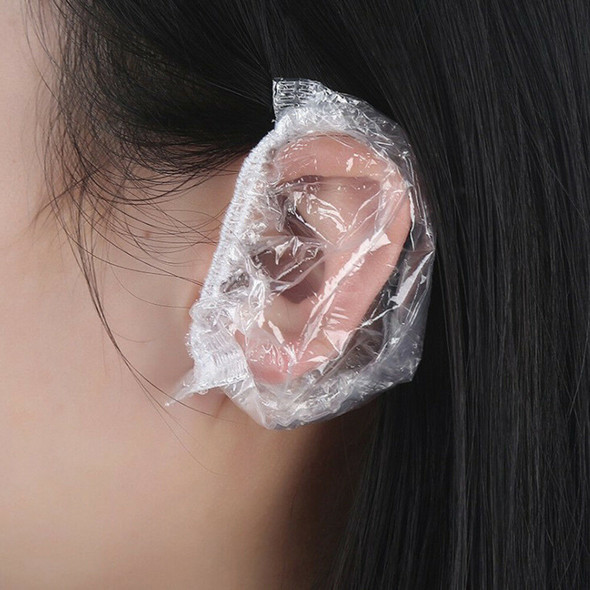 100pcs Disposable Plastic Waterproof Ear Protector Cover Dye Shield Protection