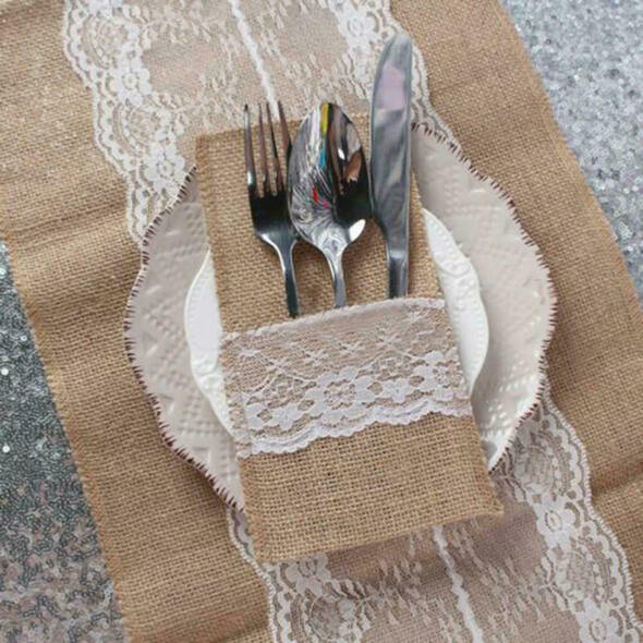 10X Hessian Rustic Burlap Lace Cutlery Holder Bag Wedding Party Table Decor