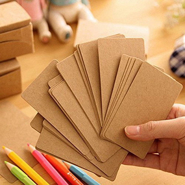 100pcs Blank Kraft paper Business Cards Word Card Message Card DIY Gift Car L6Y3