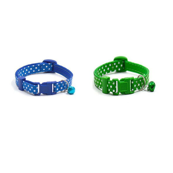 2x Adjustable Puppy Dog Kitten Cat Safety Collar Neck Buckle Strap with Bell
