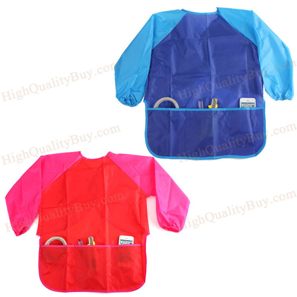1 PC Waterproof Kids Children Painting Drawing Cooking Apron Smock with 3 Hot
