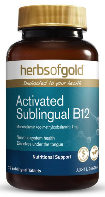 Herbs of Gold Activated Sublingual B12 / 75 Tablets