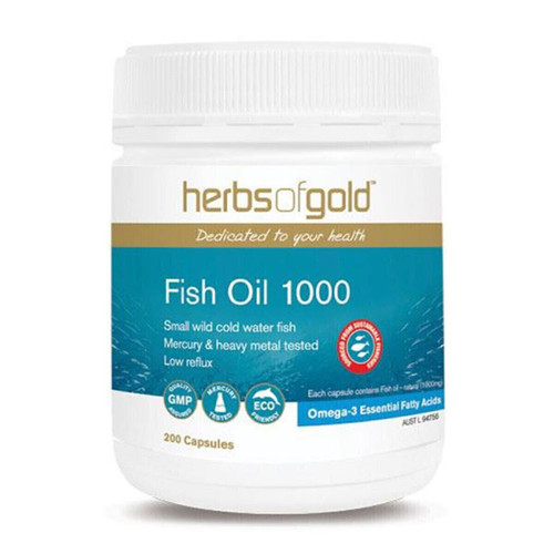 Herbs of Gold Fish Oil 1000mg 200 Capsules