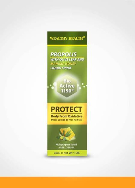 Wealthy Health Propolis With Olive Leaf And Manuka Honey Liquid Spray