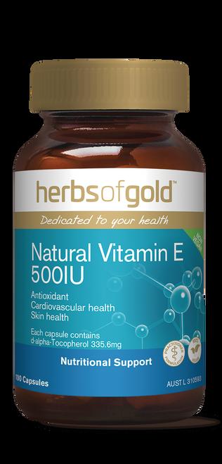 Herbs of Gold Natural Vitamin E 500 I.U. 100 Capsules