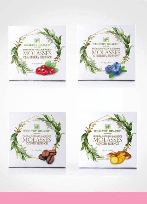 Wealthy Health Blackstrap Molasses Ginger / Cranberry / Blueberry / Coffee Essence - Premium Australia