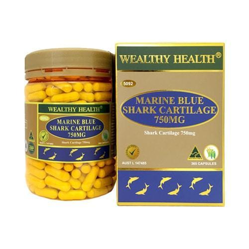 Wealthy Health Marine Blue Shark Cartilage 750mg 365 Capsules