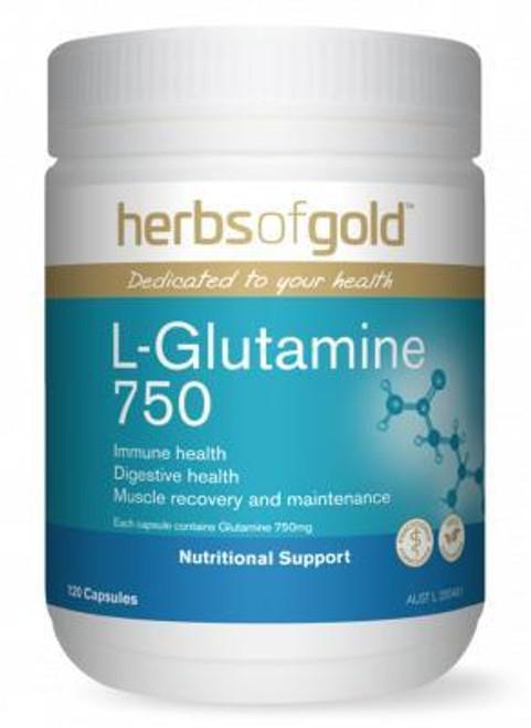 Herbs of Gold L-Glutamine 750 / 120 Capsules