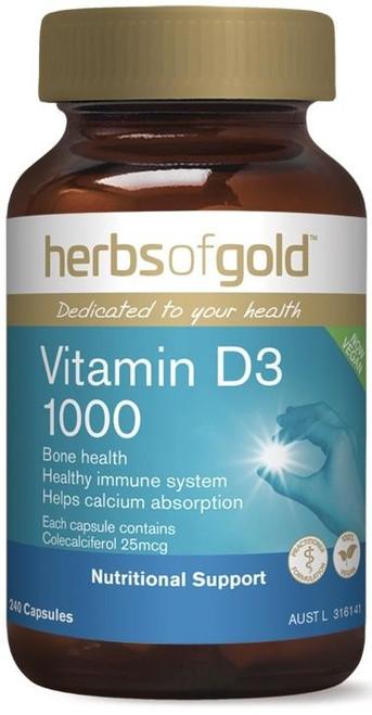 Herbs of Gold Vitamin D3 1000 240 Capsules