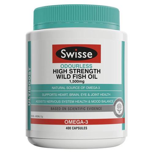 Swisse Odourless High Strength Fish Oil 1500mg 400 Capsules