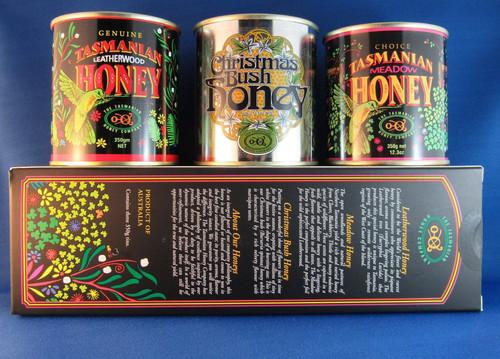 Tasmanian Honey Company gift box of three different honeys (350g each)