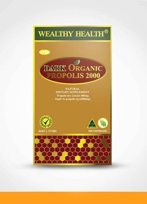 Wealthy Health Dark Organic Propolis 2000 mg 365 Capsules