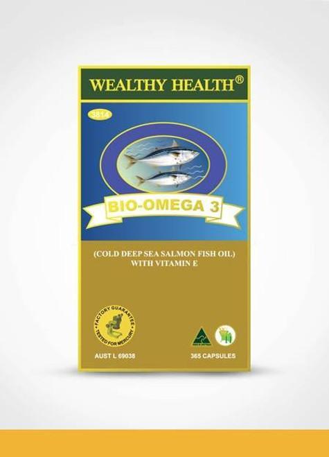 Wealthy Health Bio Omega3 Salmon Fish Oil with Vitamin E 365 Capsules