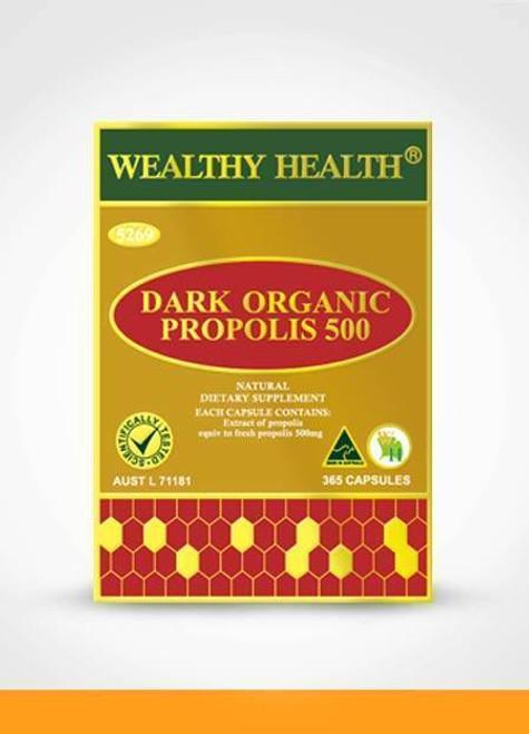 Wealthy Health Dark Organic Propolis 500mg 365 Capsules