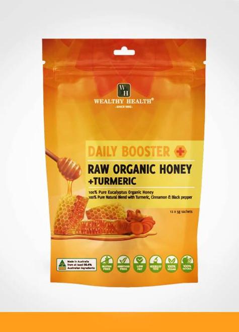 Wealthy Health Daily Booster Raw Organic Honey + Turmeric
