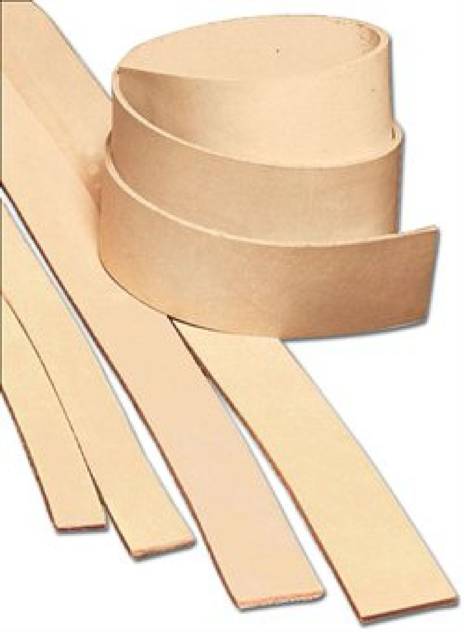 """1-1/4"""" x 72"""" Natural Heavyweight Cowhide Leather Strip"""